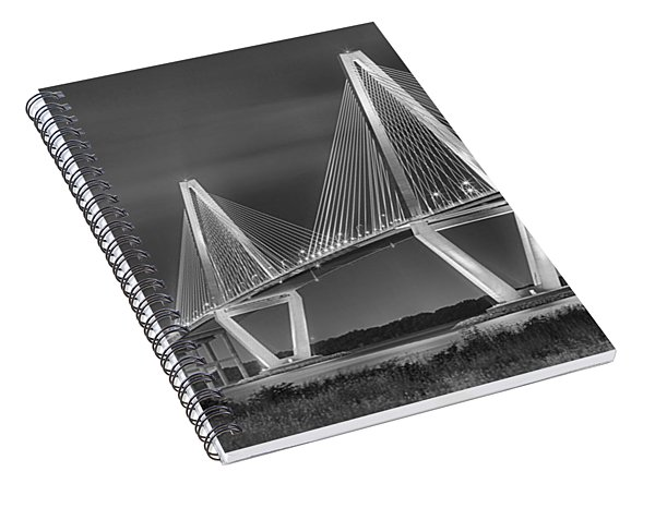 Arthur Ravenel Jr. Bridge In Black And White Spiral Notebook