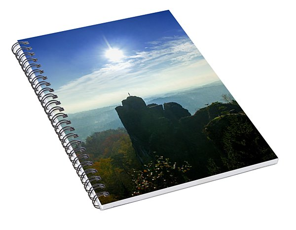 Autumn Sunrise In The Elbe Sandstone Mountains Spiral Notebook