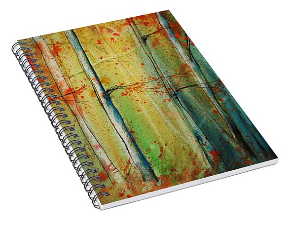 Spiral Notebook featuring the painting Birch Tree Forest I by Jani Freimann