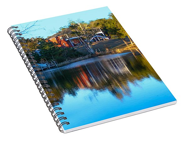 Black Water River In Blue Spiral Notebook