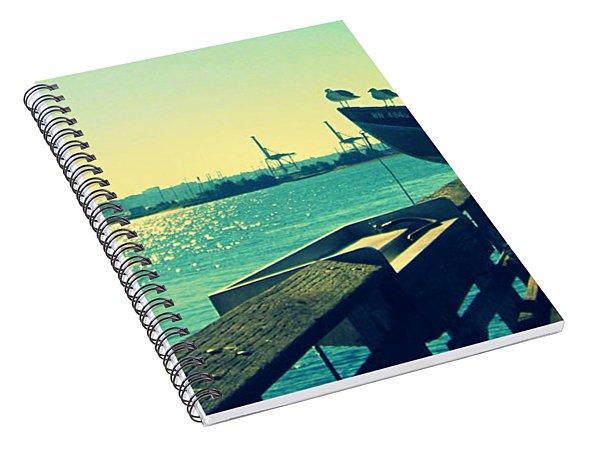 Boat At Alki Beach Spiral Notebook