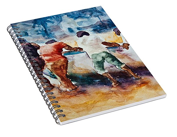 Spiral Notebook featuring the painting Men At Work by Jani Freimann