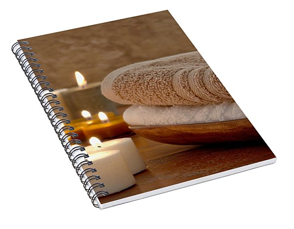Candles And Towels In A Spa Spiral Notebook