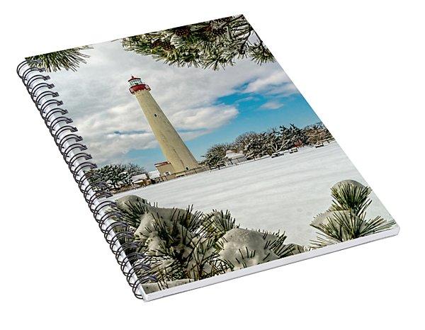 Cape May Light Thru Snowy Trees Spiral Notebook