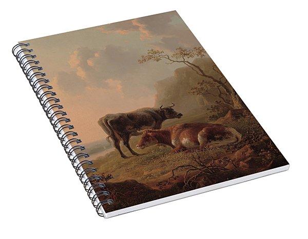 Cattle In An Italianate Landscape Spiral Notebook
