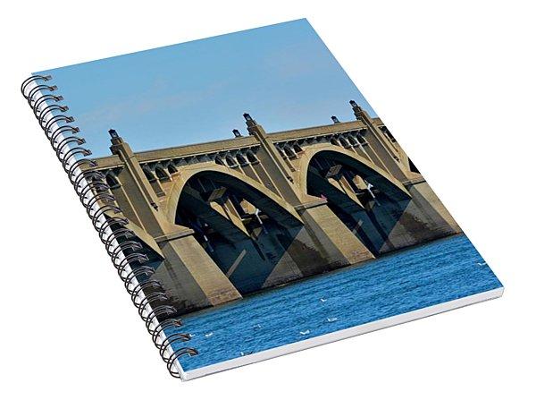 Close Up Of The Veterans Memorial Bridge Spiral Notebook