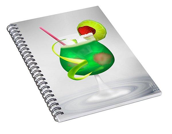 Cocktail Green Strawberry Spiral Notebook