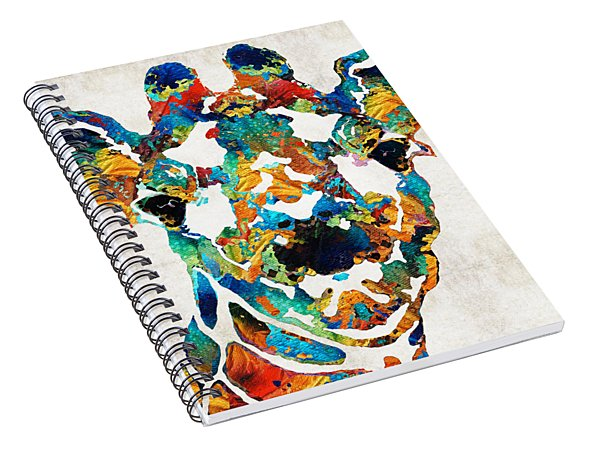 Colorful Giraffe Art - Curious - By Sharon Cummings Spiral Notebook