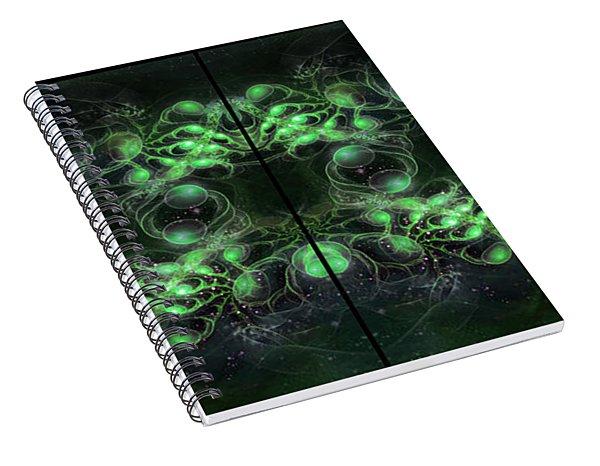 Cosmic Alien Eyes Green Spiral Notebook