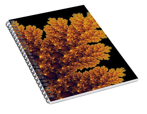 Digital Warm Golden Fractal Leaf Black Background Spiral Notebook