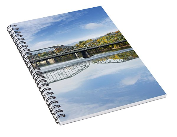 Spiral Notebook featuring the photograph Exchange St. Bridge Rock Bottom Dam Binghamton Ny by Christina Rollo