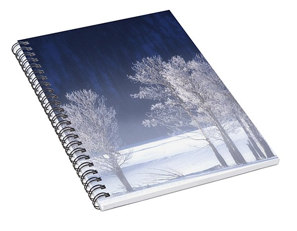 Foggy Sunrise In Yellowstone National Park Spiral Notebook