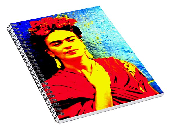 Spiral Notebook featuring the mixed media Funky Frida IIi by Michelle Dallocchio
