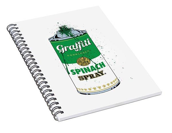 Graffiti Spinach Spray Can Spiral Notebook