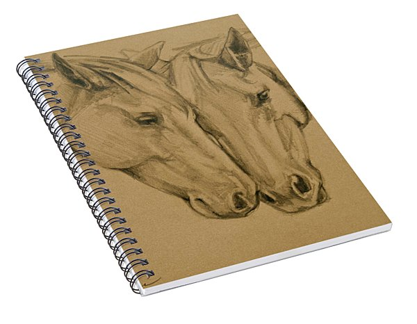 Spiral Notebook featuring the drawing Greetings Friend by Jani Freimann