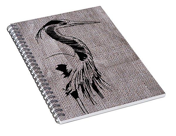 Heron On Burlap Spiral Notebook