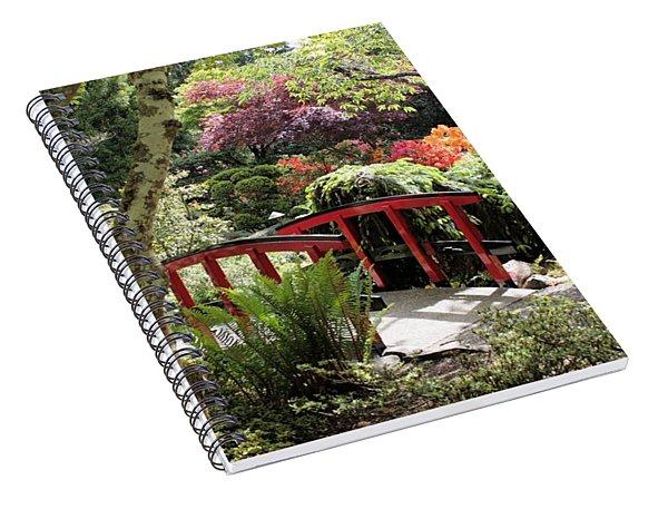 Japanese Garden Bridge With Rhododendrons Spiral Notebook