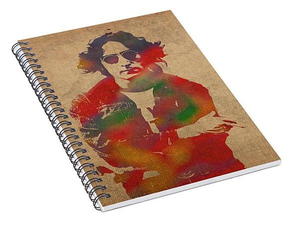 John Lennon Watercolor Portrait On Worn Distressed Canvas Spiral Notebook