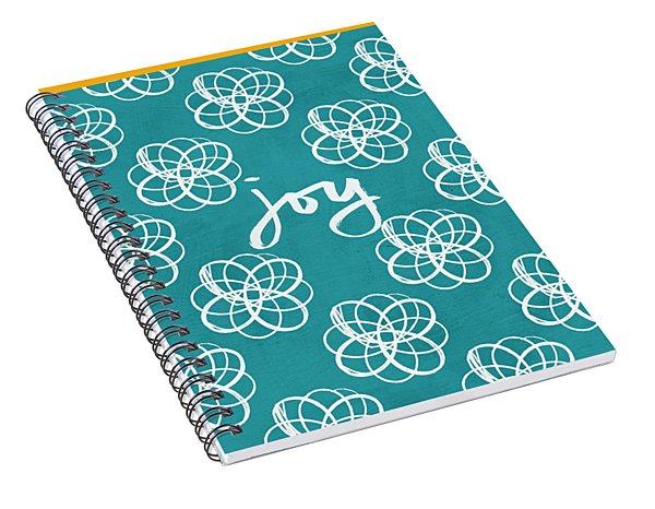 Joy Boho Floral Print Spiral Notebook