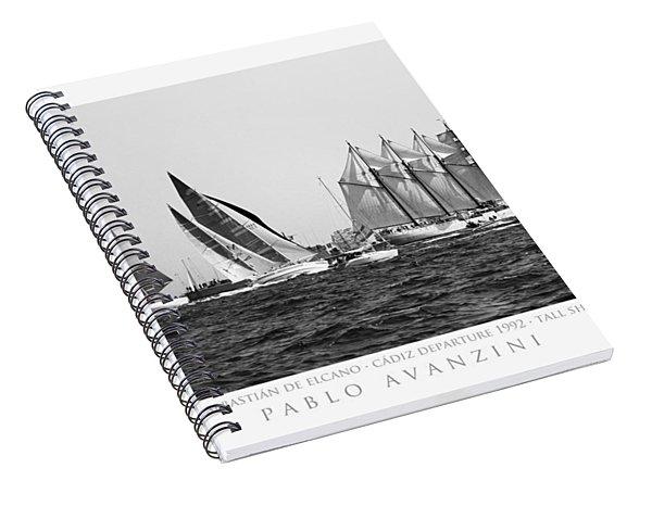 Juan Sebastian Elcano Departing The Port Of Cadiz Spiral Notebook
