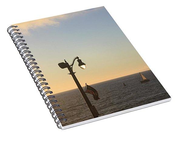 Lamp Flag Sunset Spiral Notebook