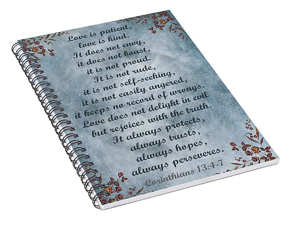 Love Is Patient Clouds Gold Leaf Spiral Notebook