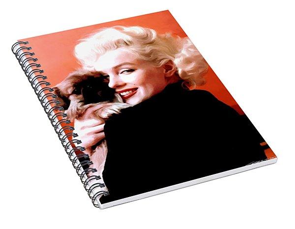 Marilyn Monroe And Pekingese Portrait Spiral Notebook