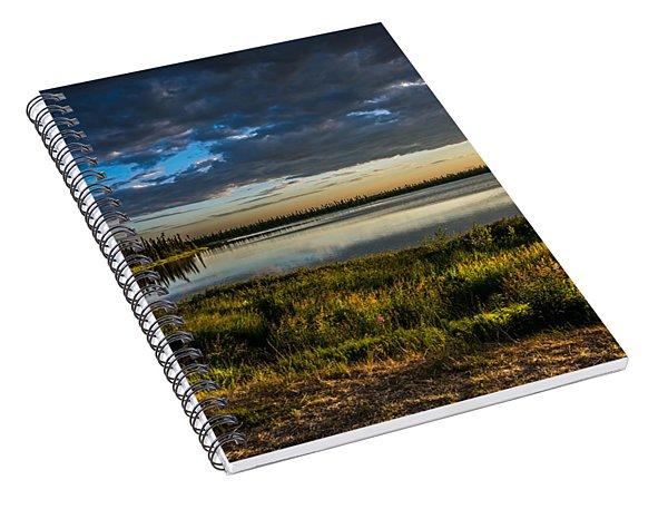 Midnight Sun Over The Pond Spiral Notebook