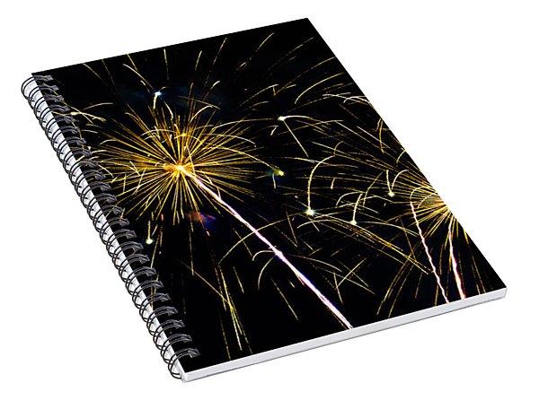 Moon Over Golden Starburst- July Fourth - Fireworks Spiral Notebook