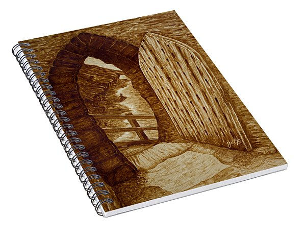 Spiral Notebook featuring the painting Morning Walk On The Beach Original Coffee Painting by Georgeta Blanaru