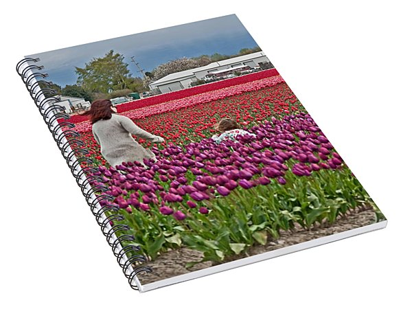 People In Tulip Fields Art Prints Spiral Notebook