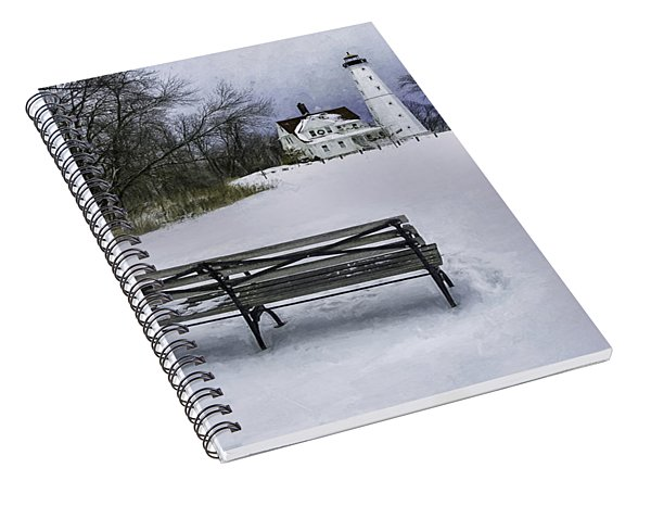 North Point Lighthouse And Bench Spiral Notebook