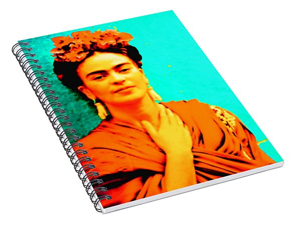 Spiral Notebook featuring the mixed media Orange You Glad It Is Frida by Michelle Dallocchio