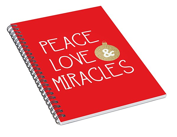 Spiral Notebook featuring the mixed media Peace Love And Miracles With Christmas Ornament by Linda Woods