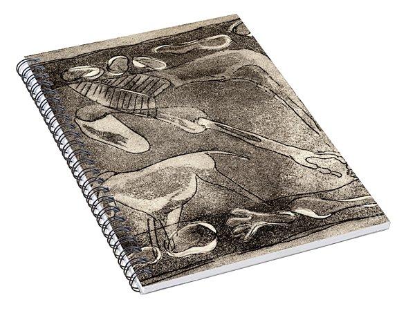 Petroglyph - Horse Takhi And Stones - Prehistoric Art - Cave Art - Rock Art - Cave Painters Spiral Notebook