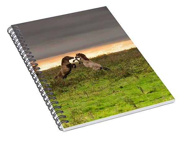 Prancing Horses At Sunset Spiral Notebook