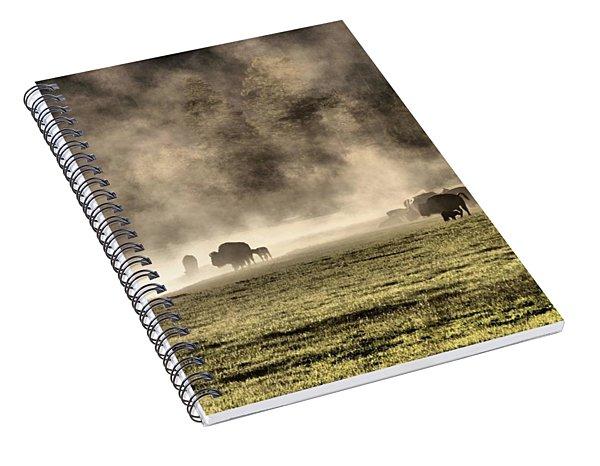 Buffalo Herd In Yellowstone Spiral Notebook