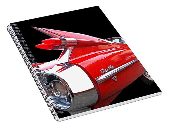 Red Cadillac Sedan De Ville 1959 Tail Fins Spiral Notebook