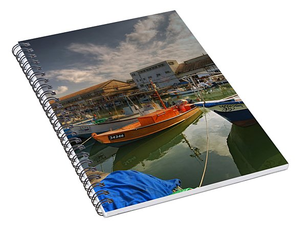 resting boats at the Jaffa port Spiral Notebook