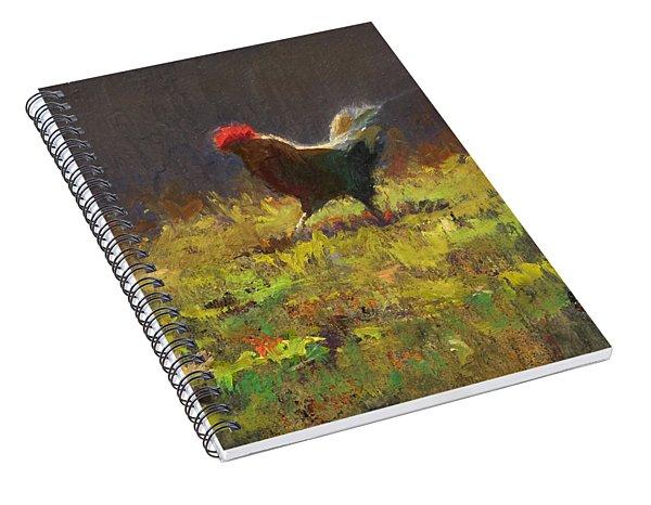 Rooster Strut - Impressionistic Chicken Landscape - Abstract Farm Art - Chicken Art - Farm Decor Spiral Notebook
