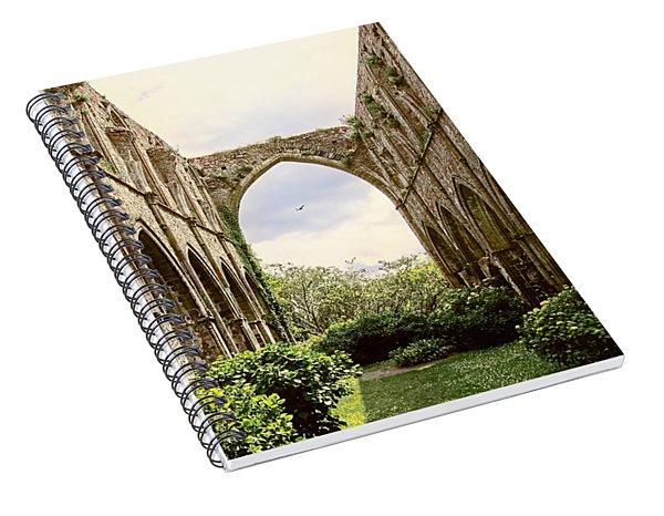 Spiral Notebook featuring the photograph Ruins Abbaye De Beauport Paimpol Bretagne by Menega Sabidussi