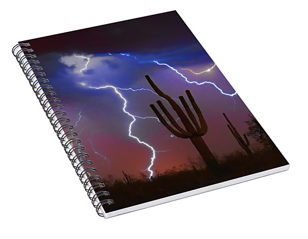 Saguaro Lightning Nature Fine Art Photograph Spiral Notebook