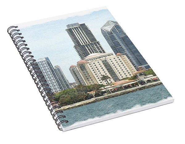 Seaport Village And Downtown San Diego Watercolor Spiral Notebook