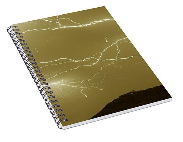 Sepia Converging Lightning Spiral Notebook
