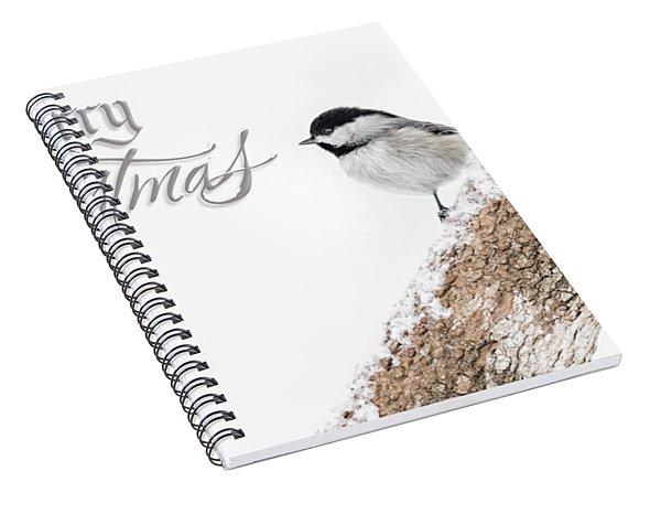 Snowy Chickadee Christmas Card Spiral Notebook