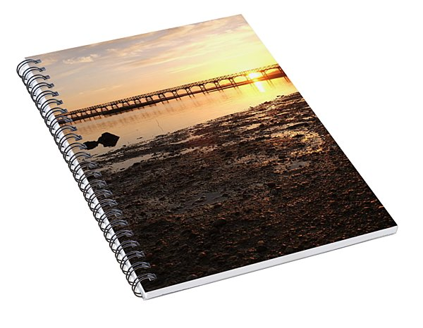 Sunset And Wooden Bridge In Ludo Spiral Notebook