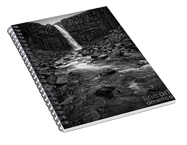 Svartifoss Waterfall In Black And White Spiral Notebook