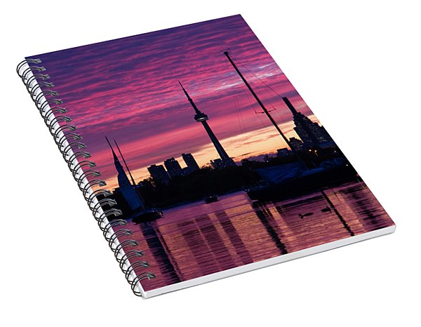 Toronto Skyline - The Boats Are Coming In Spiral Notebook