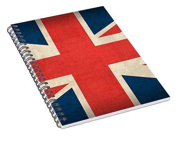 United Kingdom Union Jack England Britain Flag Vintage Distressed Finish Spiral Notebook