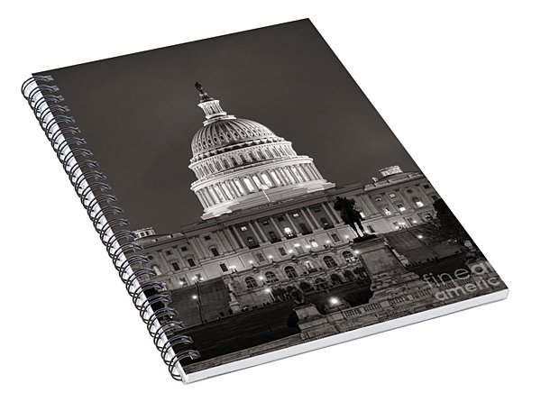 United States Capitol At Night Spiral Notebook